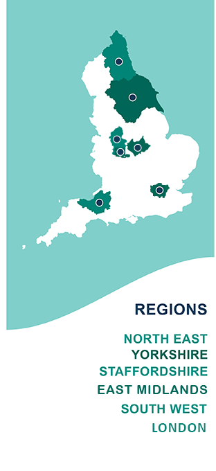 Vocare regions - North East, Yorkshire, Staffordshire, East Leicestershire and Rutland, South West, West Midlands